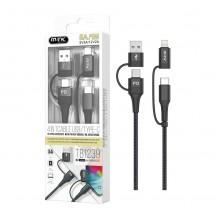 Cable 4 en 1 carga super rápida 25W Tipo-C Lightning USB MicroUSB - OP-TB1238 negro