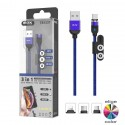 Cable 3 en 1 magnético Tipo C Lightning MicroUSB con indicador LED - OP-TB1237