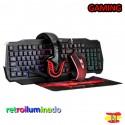 Conjunto Gaming Teclado Retroiluminado Ratón Cascos Xtrike Me CM404 Español