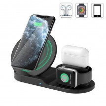 Base carga inalámbrica 3 en 1 de 10W iPhone iWatch Airpods y dispositivo Android
