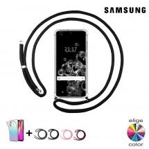 Funda TPU transparente con cordón colgar para móviles Samsung