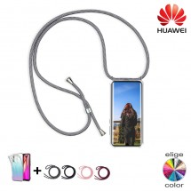Funda TPU transparente con cordón colgar para móviles Huawei