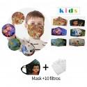 Funda mascarilla lavable dibujos niño con 10 filtros PM2.5