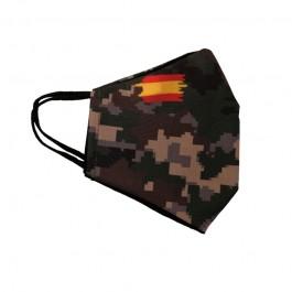 Funda mascarilla tela reutilizable lavable camuflaje bandera España