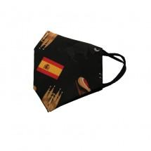 Funda mascarilla tela reutilizable lavable diseño estampado y bandera España