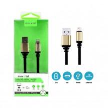 Cable metalizado iPhone iPad Lightning 3.1A de 1m ref. MV CAB-GTX-V8-3A-N