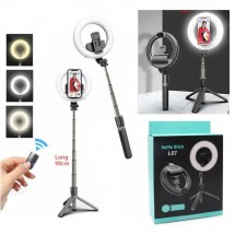 Aro Luz LED anillo palo Selfie para móviles con trípode 90cm - NW-FSD1568