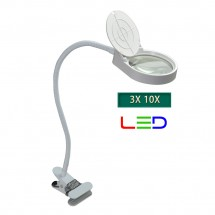Lampara LED con Lupa 3X-10X multifuncional Clip sujección PD-5S blanca