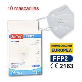 Mascarilla alto rendimiento FFP2 NR CE 2163 Adultos caja de 10ud JunYue