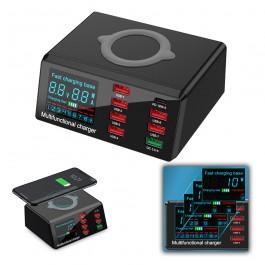 Base estación carga rápida inteligente con 8 puertos y carga inalámbrica X9 - SP