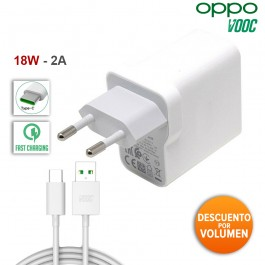 Cargador Original 18W carga rápida 2A Oppo VOOC más Cable Tipo C