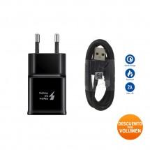 Cargador ORIGINAL Carga Rápida para Samsung de 5V 2.0A + cable Tipo C NEGRO