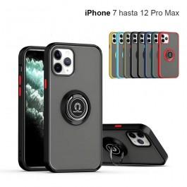 Funda antigolpes con soporte anillo magnético para iPhone