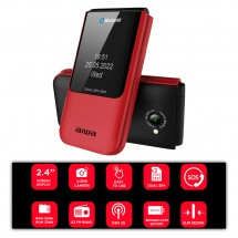 Teléfono Móvil Tapa tipo Flip Teclas grandes doble pantalla Dual Sim Bluetooth FP-24RD
