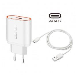 Cargador Bofon BF-TS11 2.4A con cable Tipo-C color blanco