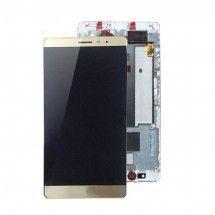 Pantalla completa dorada Con Marco para Huawei Ascend Mate S