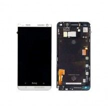 Pantalla LCD mas tactil con marco color blanco para HTC One M7 801E